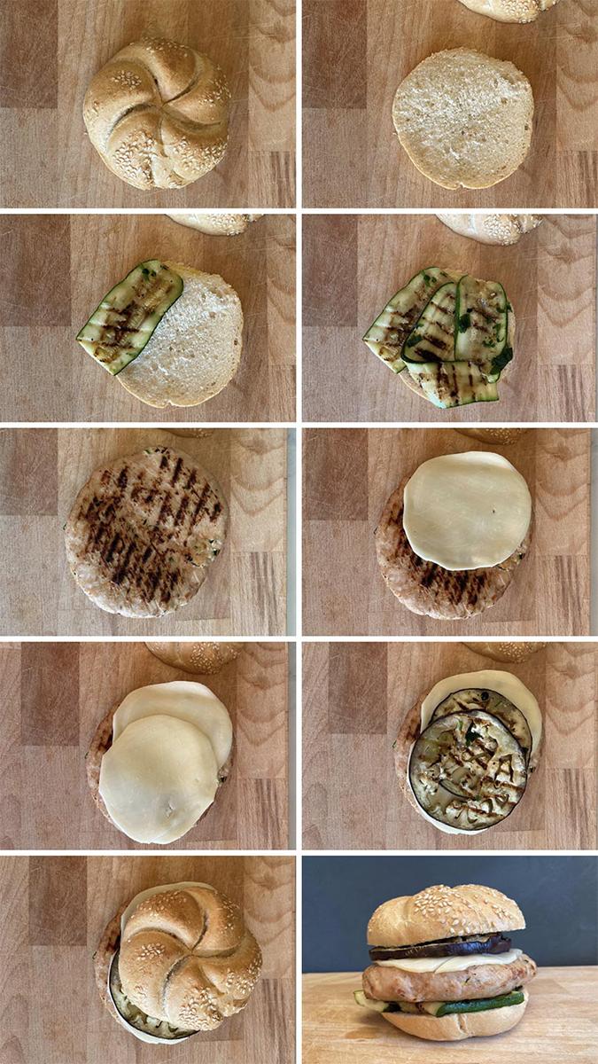 Ingredienti per un panino con hamburger di pollo e verdure macelleria Ancona