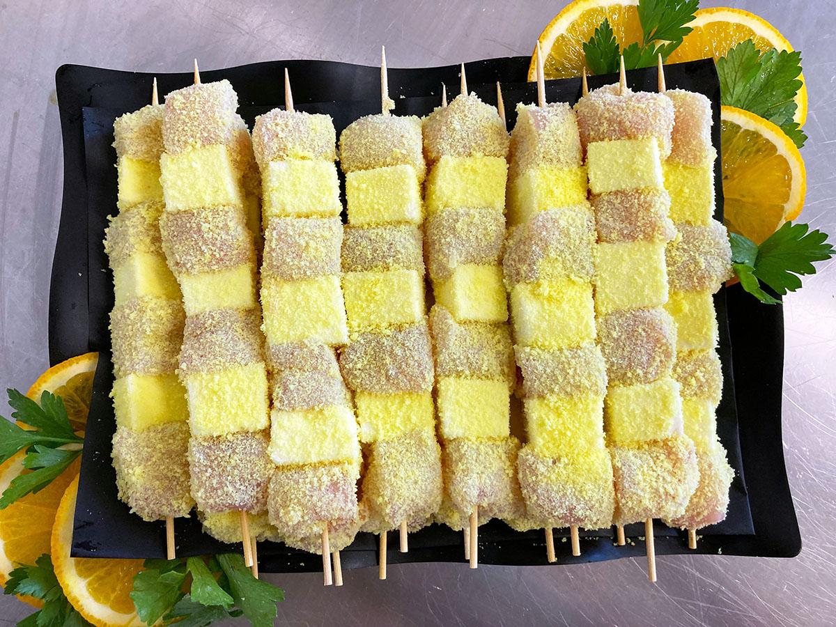 Spiedini con petto di pollo e formaggio martello macelleria Zamponi da eurospin Falconara Ancona Chiaravalle